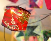 Origami lights with pink and green papers - one-of-a-kind - 20 LEDs