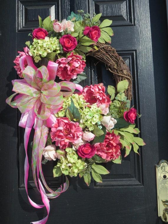 Spring or summer door wreath front door wreaths luxury wreaths silk