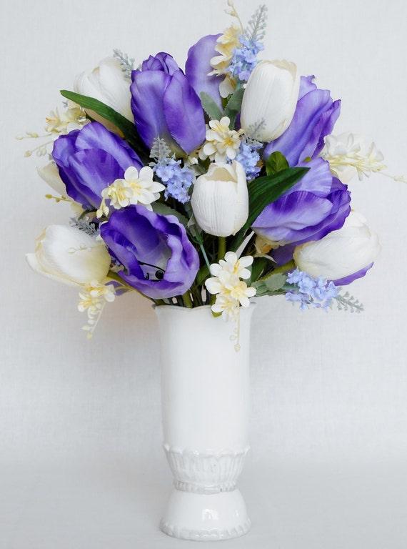 Silk Flower Arrangement Purple Tulips Cream Tulips Light