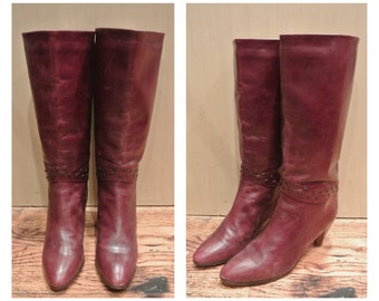 Size 7 1/2 Burgundy Leather Heeled Boots Ox Blood Studded Boots Vintage High Tall Heeled Red Leather Boots