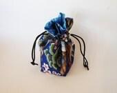 Drawstring Makeup Bag - Navy Pagoda & Cherry Blossoms - Japanese Fabric - Asian Fabric - Makeup Pouch - Cosmetic Bag - Adorable Little Bag