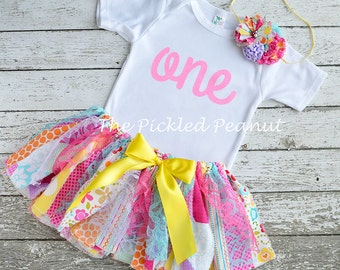 Girls Birthday Outfit 1st Birthday Baby Tutu Baby Skirt Baby Girl Birthday Rainbow Pink Tutu Shabby Chic Fabric Tutu one shirt Birthday Tutu