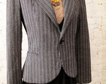 80s Black and White Wool Blazer - Puff Sleeves - Great Style