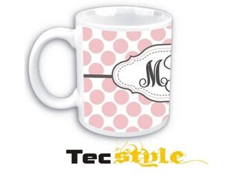 Polka Dots ceramic Coffee Mug with three Initials Personalized Monogram