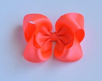Girls Hair Bows, Bright Coral Hair Bow, Satin Bows, 4 Inch Hair Bow, Baby Hair Bow, Toddler Hair Bows, 904
