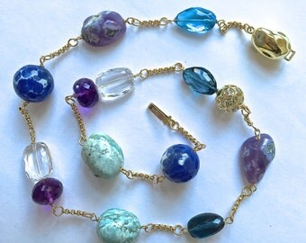 14K Solid Gold, Diamond and Gold Bead, Nugget Necklace, London Blue Topaz, Amethyst, Peruvian Blue Opal, Rock Crystal, Agate Nuggets Rounds