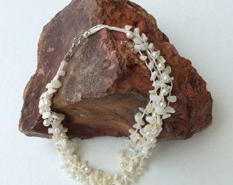 Multi Strand Pearl Necklace, Beaded Choker, Crochet Statement Necklace, Bib Collar, Bridal Necklace, Wedding Jewelry, Women Gift, ReddApple