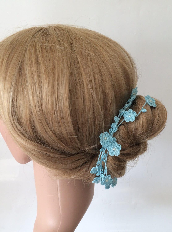 Bridal Hair Wrap Blue Hair Accessory Crochet Beaded Wrap
