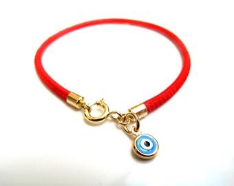 14K Solid yellow gold blue evil eye bracelet hamsa luck kabbalah red string charms delicate luxurious bracelet