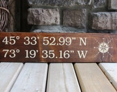 Latitude Longitude GPS Coordinates Sign - Stained Wood, Nautical, Beach, Rustic, Custom Wood Sign