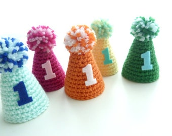 First Birthday Hat--Mini party hat--Custom colors--Crochet Birthday Hat--Elastic headband--Boy or Girl