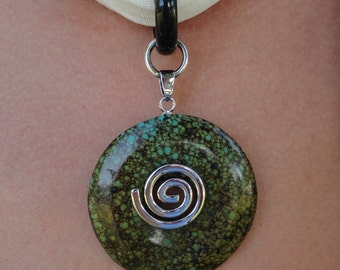Chakra Healing Hemp Scarf Necklace with Reiki-Attuned Turqoise and Obsidian pendant - gift under 40