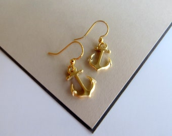 SALE: Small Gold Anchor Earrings - Dangle Nautical Earrings - Dangle Anchor Charm Earrings