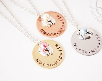 Nurse Midwife - Gift - Hand Stamped - Disk Necklace - Nurse