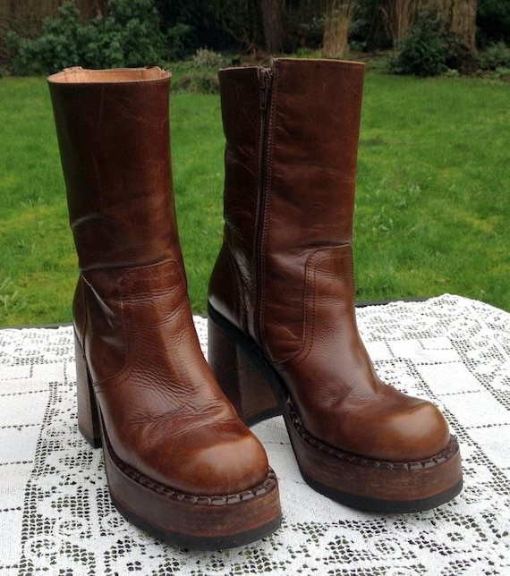 destroy platform boots leather rocker mid calf sz 40 chunky