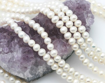 Lot of 5 strands Cultured Fresh Water Pearl Potato Beads White 5-5.5mm AA (BH5575)