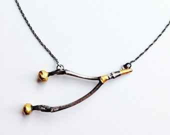 Medium Twig Necklace in Sterling Silver and 24K Gold Leaf - Handmade & OOAK