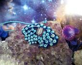 SALE Blue and white octopus tentacle quartz pendants