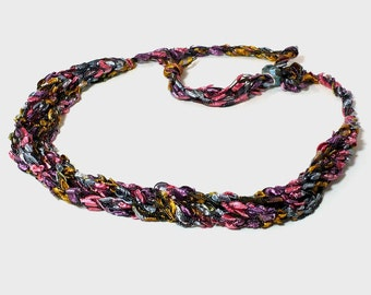 Multicolored Ladder Yarn Necklace - Crocheted ribbon necklace in soft desert hues, vegan necklace, handmade fiber jewelry, ready to ship