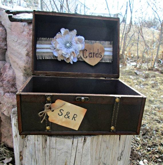 Rustic Wedding Gift Card Holder : ... Wedding Card Holder -Rustic Card Box -Card Box -Burlap Wedding-Gift