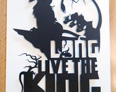 Lion King Scar Long Live The King // silhouette hand cut paper craft unique wall art disney inspired artwork 3D shadowbox wall decor
