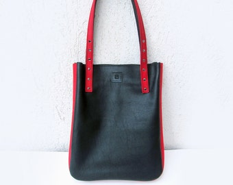 Leather tote bag, Womens shopping bag,  Black and red leather bag