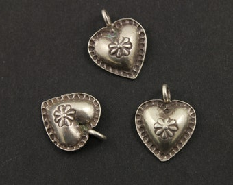 Fine Silver (.999) Thai Hill Tribe Handmade Heart Pendant w/ Tribal and Flower Detail, Lightly Oxidized, 1 Piece, Sold Individually (HT2011)