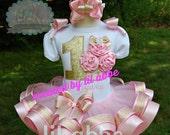 Gathered Satin Rosette Cupcake Tutu Set in Light Pink and Gold~Fabulously Feminine!