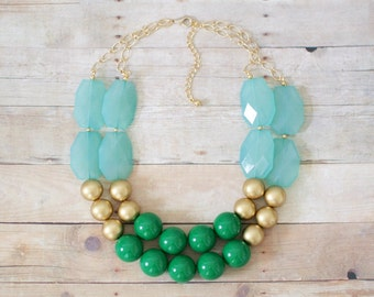 Aqua and Green Statement Necklace, Chunky Green Bib Necklace, Aqua Statement Necklace, Gold Beaded Necklace