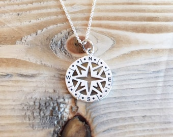 Graduation Necklace, Compass Necklace, Sterling Silver Compass Necklace, Graduation Gift, Graduate Class of 2015, Journey Necklace 18""