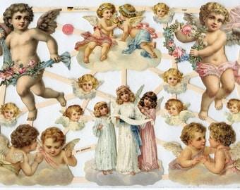 Cherubs Angels SCRAP RELIEFS - Angels Scrap Reliefs - Angel Die Cuts - Cherub Die Cuts - Victorian Die Cuts - Cherub Die Cuts