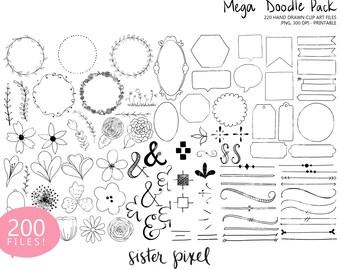 Digital Clip Art Doodle Mega Pack