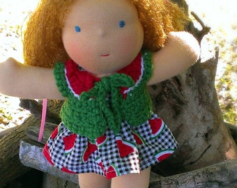 8 Inch Waldorf Doll Dress and Sweater - Watermelon