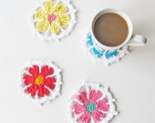 Crochet Spring Flower Coaster Trivet Instant Download Pattern