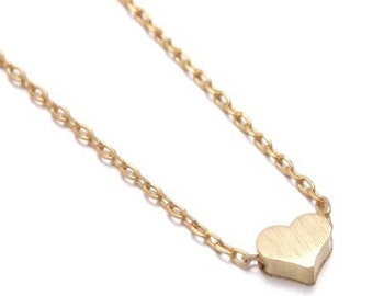 "Tiny Gold ""Heart Me"" Necklace - Dainty, Simple, Birthday Gift, Wedding Bridesmaid Gift"