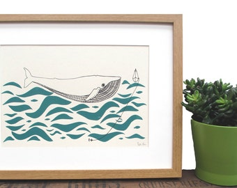 Art Print 'Gone fishing' A4 Screen printed with eco friendly inks