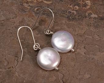 white coin pearl dangle earrings, freshwater pearl earrings, sterling silver jewelry, cream pearl jewelry, handmade pearl earrings