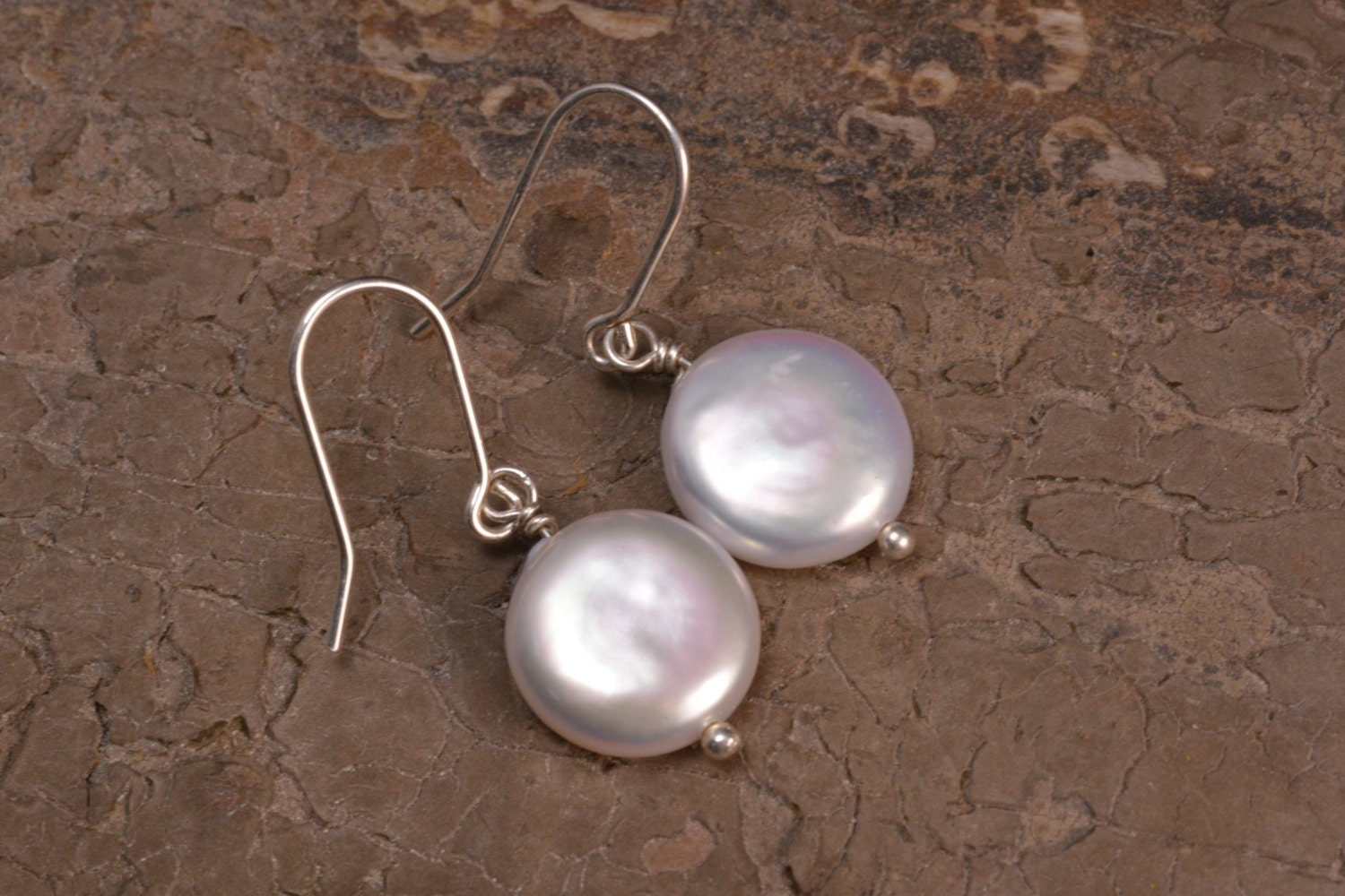 White Coin Pearl Dangle Earrings Freshwater Pearl Earrings