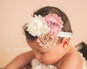 Baby Headband, Dusty pink, brown and Ivory Headband, Toddler Headband, Newborn headband, baby hair bow,Newborn photo prop, hair accessories.
