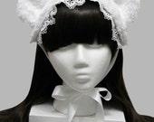 White Winter Snow Bear Gothic and Lolita Headdress Bonnet - Made to Order