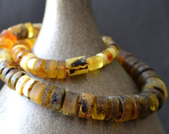 Amber Necklace Natural Raw Unpolished Necklace Genuine Amber Statement One-of-a-kind Necklace