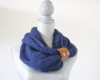 Navy Leather Cuffed Infinity Scarf. Crochet Scarf. Scarf. Handmade Scarf. Women's Fashion. Woman's Scarf. Navy Scarf