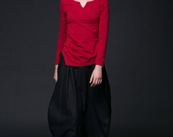 Modern Black Skirt - Contemporary Bud-Shaped Maxi Long Handmade Woman's Linen Skirt with Pockets C527