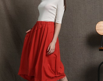 Orange Skirt - Casual Linen Asymmetrical Modern Contemporary Women's Fashion Handmade Clothing Designer Skirt C624