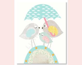 Baby Girl Nursery Print, Nursery Art, Aqua and Grey Nursery, Teal, Turquoise, Birds, Neutral, Unisex, Neutral, Baby Shower, Kids Art