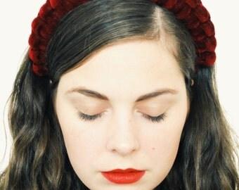 Burgundy headpiece, crown headband, headpiece for women, knot headband, rope headband, statement headband, velvet hair accessories, bridal
