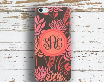 Floral Iphone 5c case, Flower Iphone 6s case, Monogram Iphone 5s case, Girly iPhone 6 case, Womens fashion accessories, Black coral (9950)