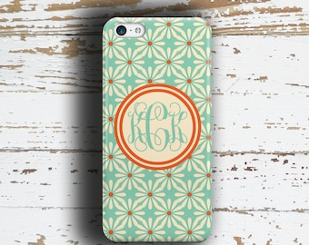 Personalized iPhone 6 case, Floral Coral orange and light blue iPhone 8 iPhone 8 Plus iPhone 7 iPhone 7 Plus iPhone SE iPhone 5s ( 9923)