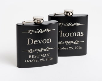 Personalized Flask, Groomsmen Gift, Best Man Flask, Engraved Stainless Steel Flask, Monogram Flask, Flasks