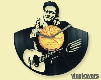 Johnny Cash country blues rockabilly gift wall clock from vinyl record rock unique rock handmade